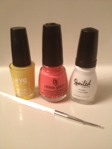 NYC in Lexington Yellow; China Glaze in Surreal Appeal; Spoiled by WnW in Correction Tape and my trust dotting tool.