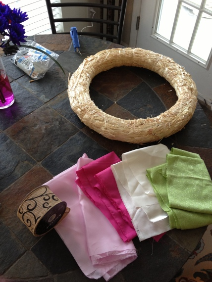 The naked wreath, printed burlap and scrap fabric.
