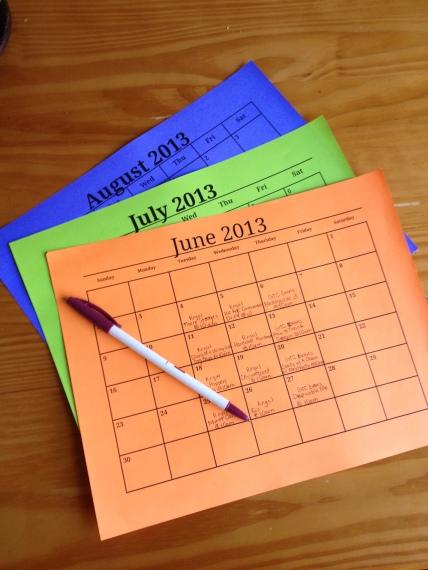 Summer Fun Calendar