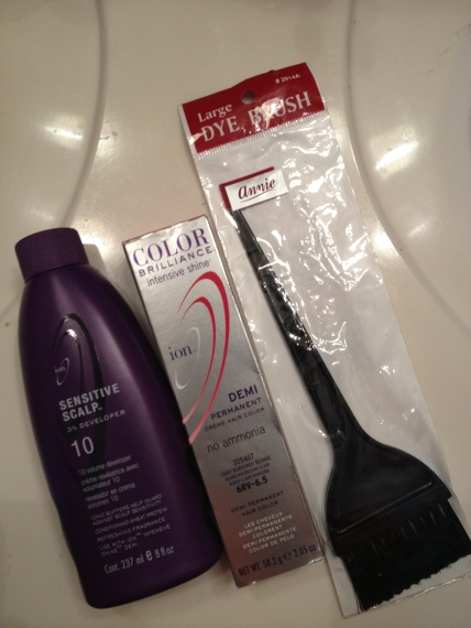 Ion Demi Permanent Creme Hair Color in Light Burgundy Blonde, Ion Sensitive Scalp Level 10 Developer and the Annie Large Dye Brush (which I already had)