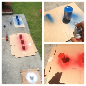 Spray painting the cans red, white and blue.