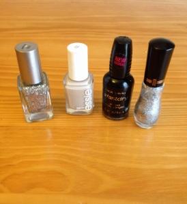 Loreal's Sparklicious; Essie's Sand Tropez; WnW's Ebony Hates Chris; Milani's Art of Silver